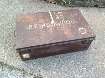 Late Victorian Metal Travel Military Storage Trunk 3'x2'x1' Great coffee table