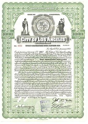 City of Los Angeles Street Construction Bond Certificate 1924
