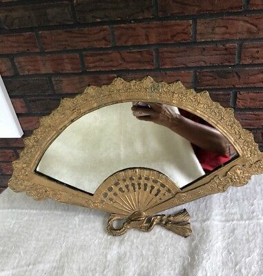 Vintage Art Nouveau/Deco Free Standing Brass Fan Mirror Shabby Chic Antique VTG
