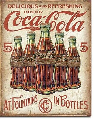 Coca Cola Coke 5 Cent Bottle Advertising Vintage Retro Wall Decor Metal Tin Sign