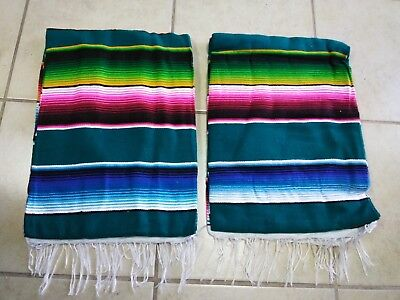 TWO PIECE SERAPE SET ,5' X 7',Mexican Blanket,HOT ROD, Covers, XXL , TEAL MIX #1