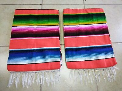 TWO PIECE SERAPE SET ,5' X 7',Mexican Blanket,HOT ROD,Covers, XXL ,ORANGE MIX #1