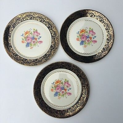 Vtg Southern Potteries, Inc. 3 X Dinner Plates Warranted Gold Gilt 22 Kt USA 10""