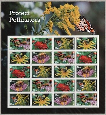 Us Nature 2017 Scott 5228-5232 Protect Pollinators 20 Mnhfvf Forever Stamp Sheet
