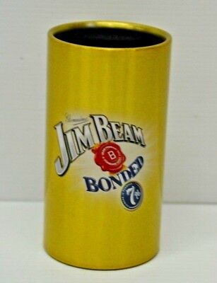 Jim Beam Genuine Bonded 7% Brand New Gold Colored Metal Mini Can Holder