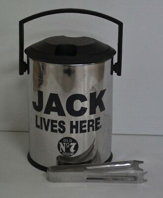 Jack Daniel's Old No.7 Brand Jack Lives Here Ice Bucket With Lid & Small Tongs