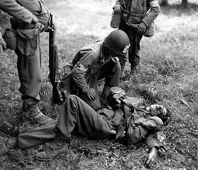 B&W WW2 Photo WWII Wounded German Solider US Medic World War Two US Army France