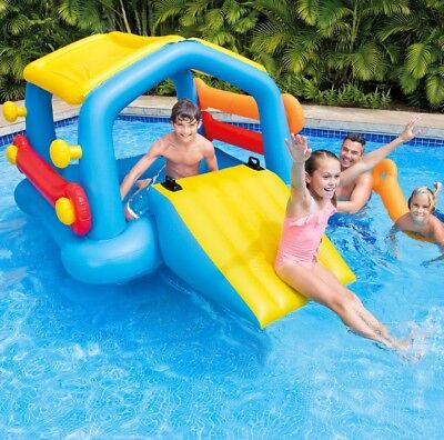 Intex Inflatable Island Pool Float with Water Slide & Removable Side Noodles
