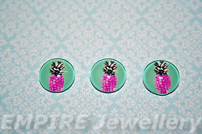 2 x Pink Pop Art Pineapple 12x12mm Glass Cabochons Cameo Dome Fruit Retro