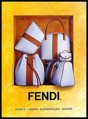 1993 Fendi Bags Vintage PRINT AD Fashion Designer Leather Goods Striped Handbags