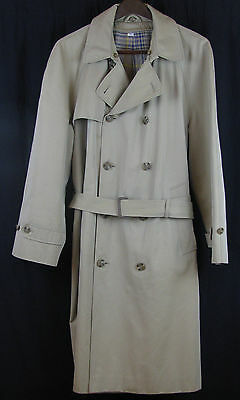 Vintage BROOKS BROTHERS Brown Tan Cotton Poly Poplin Belt Trench Over Coat, 42R
