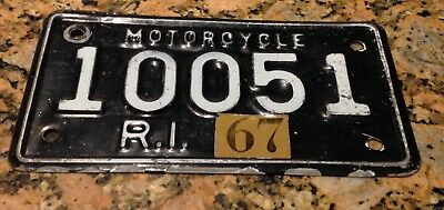 1967 Rhode Island MOTORCYCLE license plate very Unique! '67 RI MC Cycle Tag