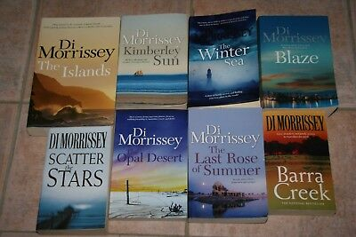 8  DI MORRISSEY NOVELS books, KIMBERLEY SUN ,THE ISLANDS , BARRA CREEK +++