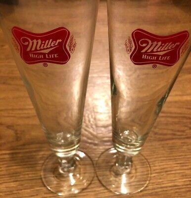 Set Of 2 Flute Miller Lite 12oz Glass New Old Stock Red Logo High Life Glass