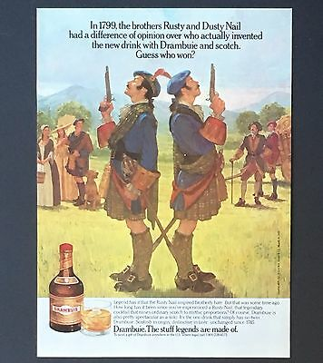 1989 Drambuie Advertisement Scottish Duel Rusty Nail Kilts Artwork Print AD