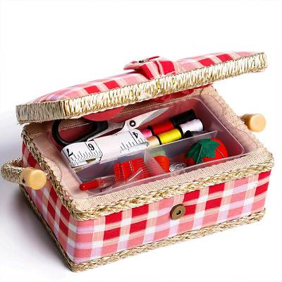 bbloop Small Vintage Sewing Basket with Notions Package - Pink Plaid Style