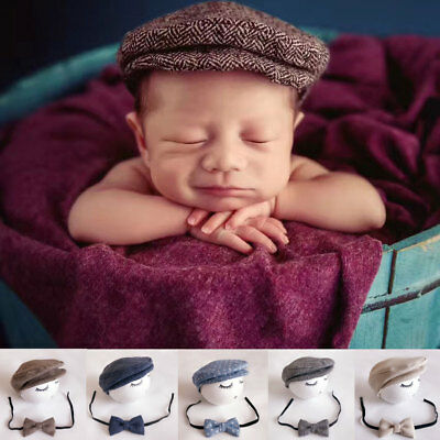Baby Newborn Peaked Beanie Cap Hat +Bow Tie Photo Photography Prop Outfit Set Zn