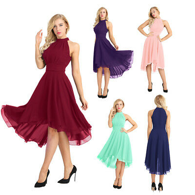 Women Chiffon Halter Evening Party Porm Gown High Low Short Bridesmaid Dresses
