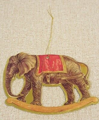 "DIE CUT HARD CARD ELEPHANT W/ GOLD TRIM CHRISTMAS ORNAMENT 4-1/2"" x 3-3/8"""
