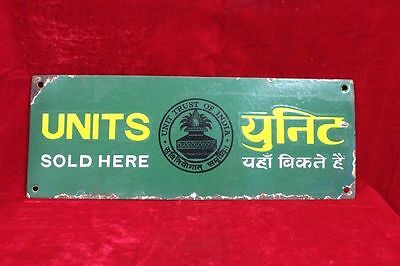 Old Vintage Indian Advertising Units Sold Enamel Signboard Collectible PJ24