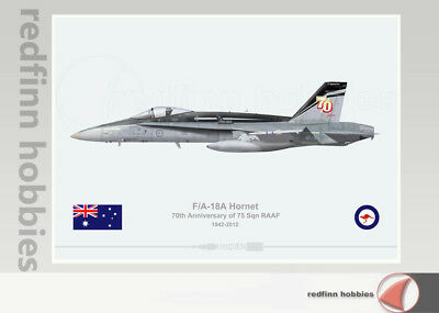 Warhead Illustrated F/A-18A Hornet 75 Sqn 70th Anni. Scheme RAAF Aircraft Print