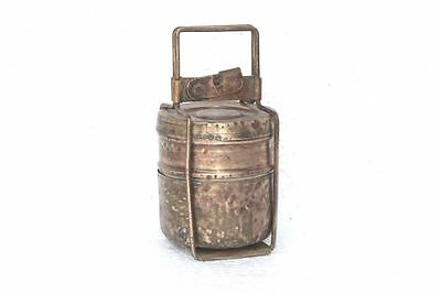 1900's Indian Antique Hand Crafted Brass Travelling Food Tiffin Box PA-55