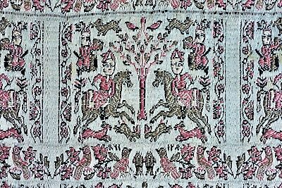 ANTIQUE 18th CENTURY PERSIAN ZAND DYNASTY SILK BROCADE HUNTING TEXTILE TAPESTRY