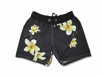 Kids Shorts Board Shorts Frangipani Print Boys Girls Floral Cute Swimmers