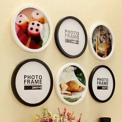 Round Photo Frame Wooden Hanging Picture Holder Home Bedroom Decoration 7-12inch