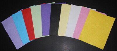 EMBOSSED PAPER x 10 ~10 COLOURS ~10 DESIGNS~ SCRAPBOOKING/CARDMAKING