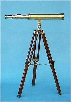 18 Inches Brass Polished Nautical Desktop Telescope on Hardwood Brown Tripod