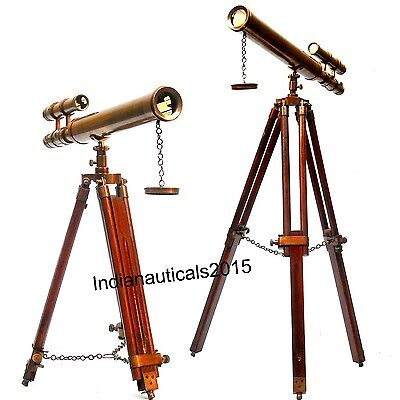 "18"" Brown Antique Table Telescope With Brown tripod stand"