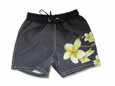 Kids Shorts Board Shorts Frangipani Print Boys Girls Floral Cute Swimmer Seconds