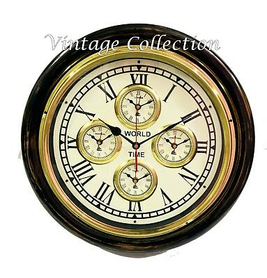 Antique Style Brass Wooden Wall Clock World Time Clock Nautical Wall Decor Gift