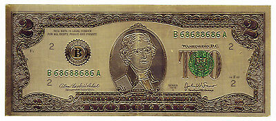 USA, 1976A, 2 Dollars, Gold coloured Banknote