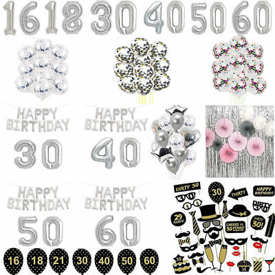 Silver Happy Birthday Banner Balloons Age Number 16/18/21/30/40th Birthday Party