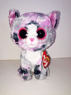 "Ty® 9/"" Lindi Beanie Boo/'s® Medium Gray /& Pink Cat FROM OUR CAT /& KITTEN STOCK"