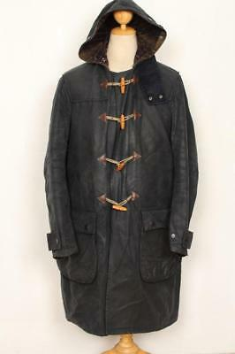 Mens BARBOUR A872 Hooded WAX DUFFLE Coat Navy Size Medium