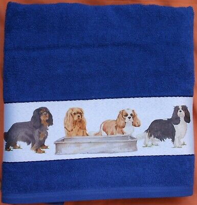 Cavalier King Charles Spaniel Dogs Off To The Dog Show Large Hand/guest Towel