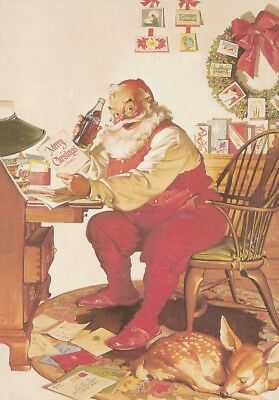Santa Claus red suit drinking coca cola bottle reading letters postcard