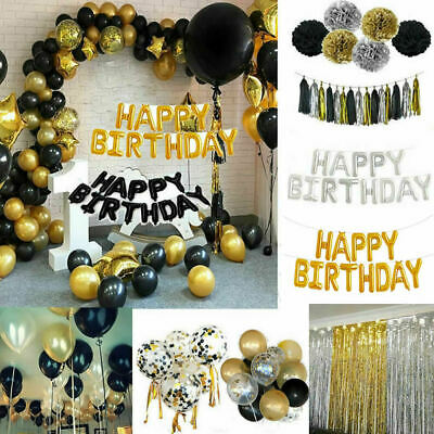 Gold Happy Birthday Bunting Banner Balloons 18/21st/30/40/50/60th Party Decorati