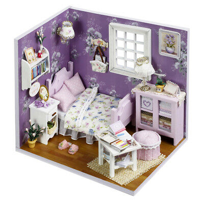 DIY Wooden Cottage Dollhouse Miniature Kit Dolls House W/ Furniture Music Gift K