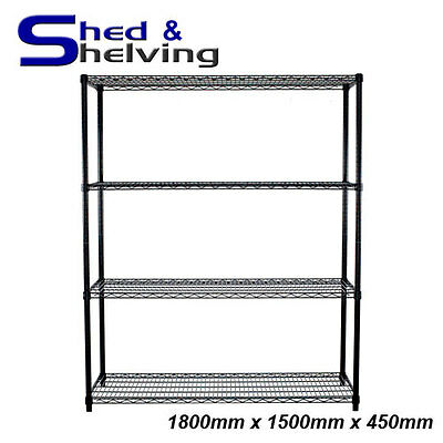 Wire Mesh Cool Room Shelving Black Epoxy Coated Kitchen Laundry 1800x1500x450mm