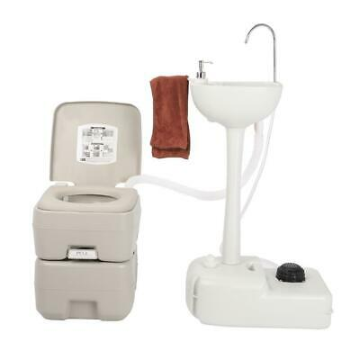 Camping Wash Set Portable 20L Flush Toilet And Hand Wash Sink Basin Towel Holder