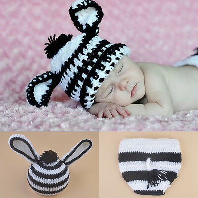 New Baby Zebra Printed Knitted Crochet Outfit Set Hat Photography Props Costume