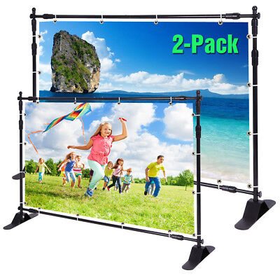 2 Pack 8x10 Display Trade Show Wall Backdrop Telescopic Banner Stand Adjustable