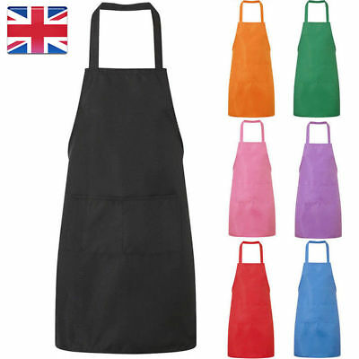 Black Plain Apron Chef Catering Butcher Cooking Workwear Overall Cotton Aprons