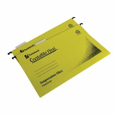 Rexel Crystalfile Flexi Standard Foolscap Yellow (Pack of 50) 3000043 [TW13774]