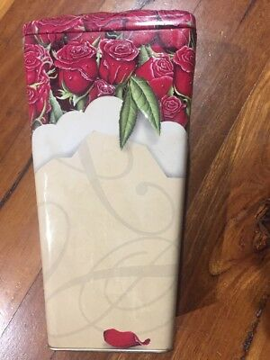 Biscuit Tin Empty Flowers Roses Collectable Embossed Canister Collectable