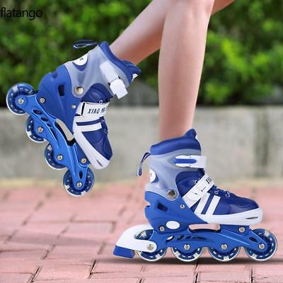 Kids Boys Girls 4 Wheel Adjustable Size Inline Skates Roller Blades Boots PU